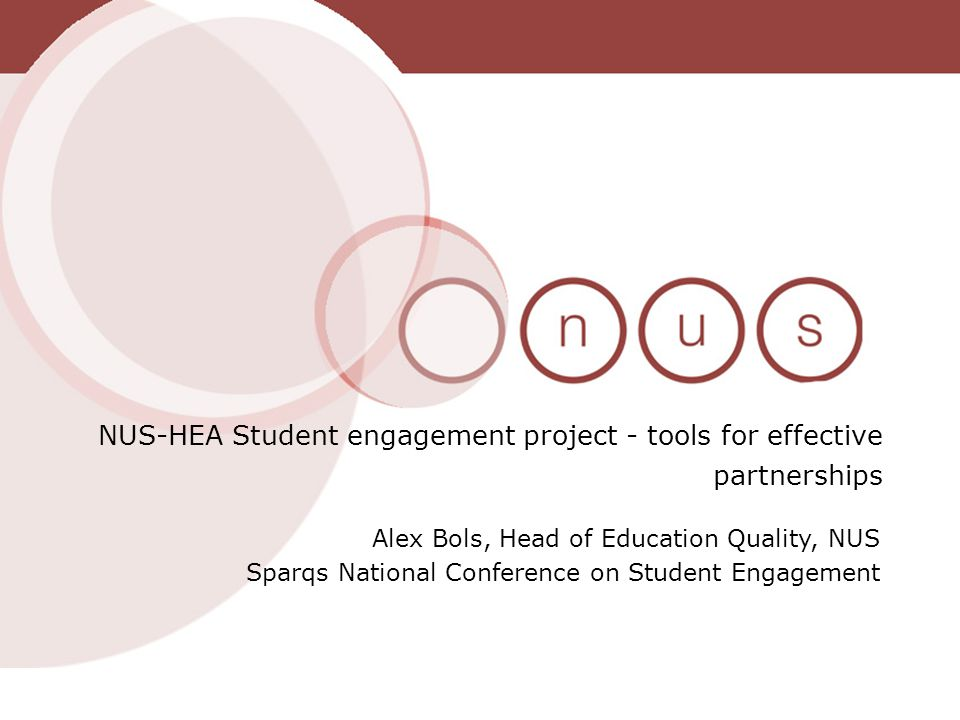 The Student Engagement Project Began in 2009 – jointly run between the HEA and NUS The project was informed by the work of the cross-sector student engagement group and CHERIs report of February 2009 into student engagement.