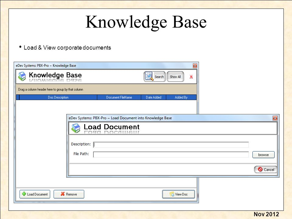 Nov 2012 Knowledge Base Load & View corporate documents