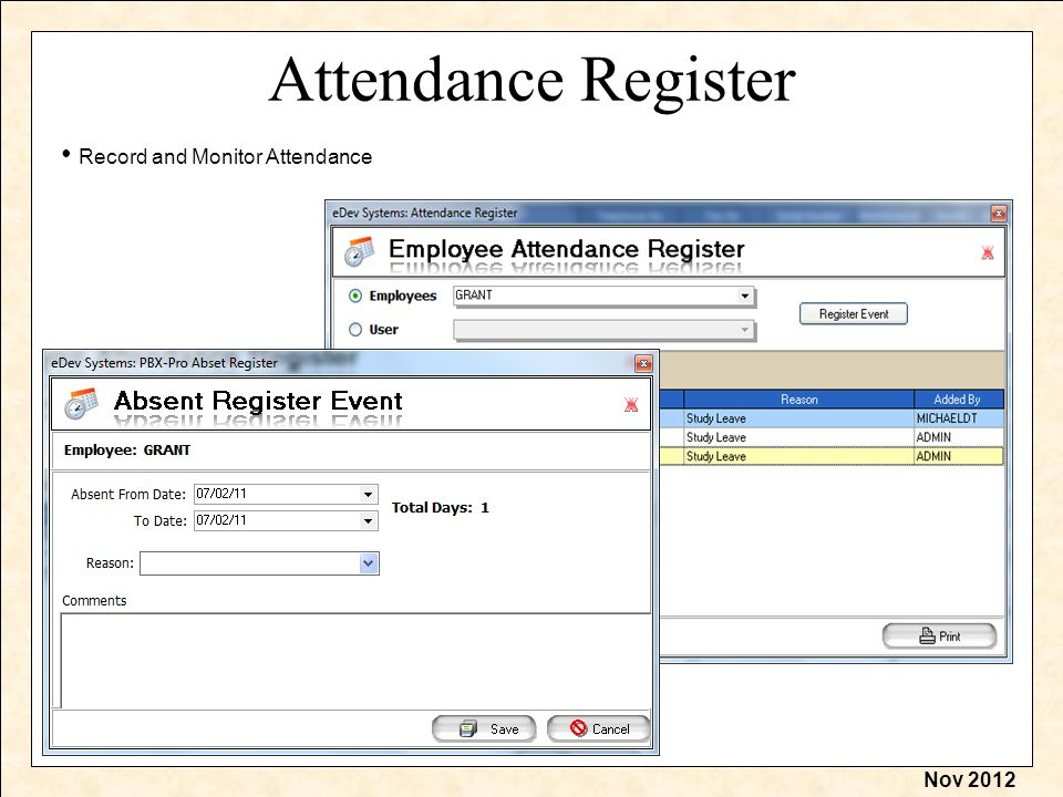Nov 2012 Attendance Register Record and Monitor Attendance