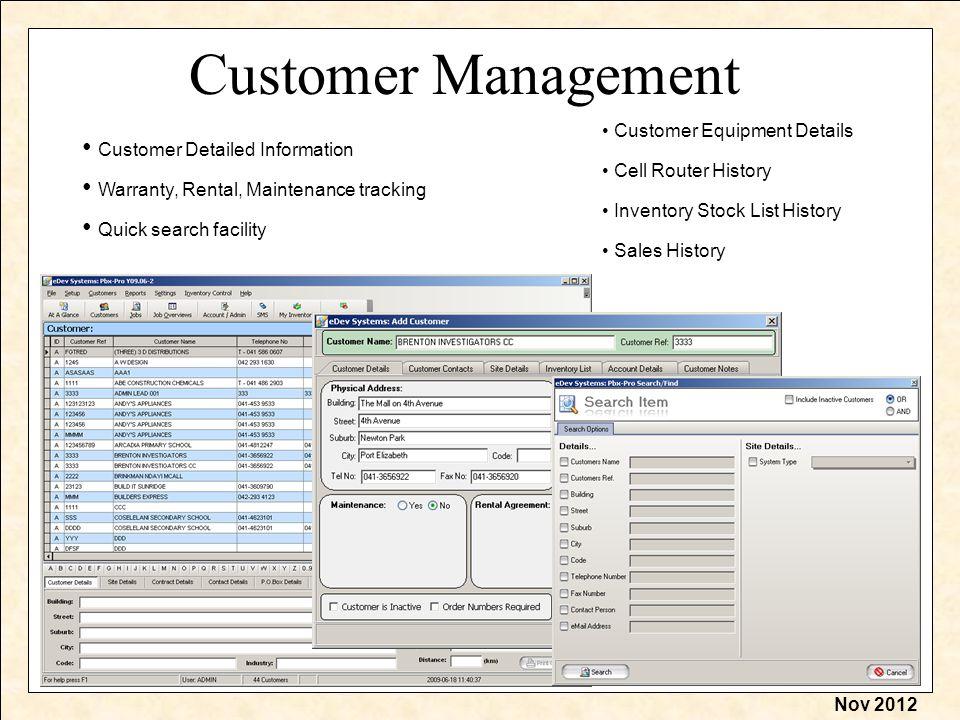 Nov 2012 Customer Management Customer Detailed Information Inventory Stock List History Cell Router History Sales History Customer Equipment Details Quick search facility Warranty, Rental, Maintenance tracking