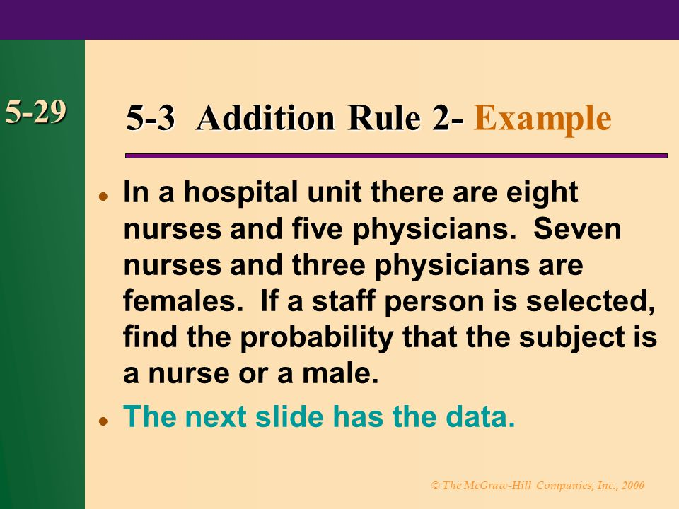 © The McGraw-Hill Companies, Inc., 2000 5-29 5-3 Addition Rule 2- 5-3 Addition Rule 2- Example In a hospital unit there are eight nurses and five phys