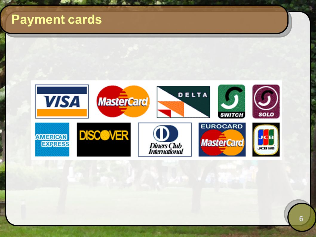 6 Payment cards