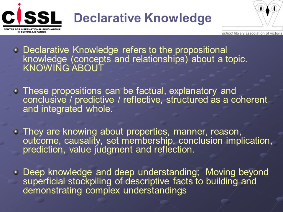 Declarative Knowledge Declarative Knowledge refers to the propositional knowledge (concepts and relationships) about a topic.