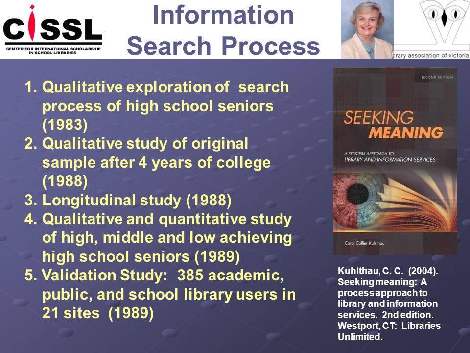Information Search Process Kuhlthau, C. C. (2004). Seeking meaning: A process approach to library and information services. 2nd edition. Westport, CT: