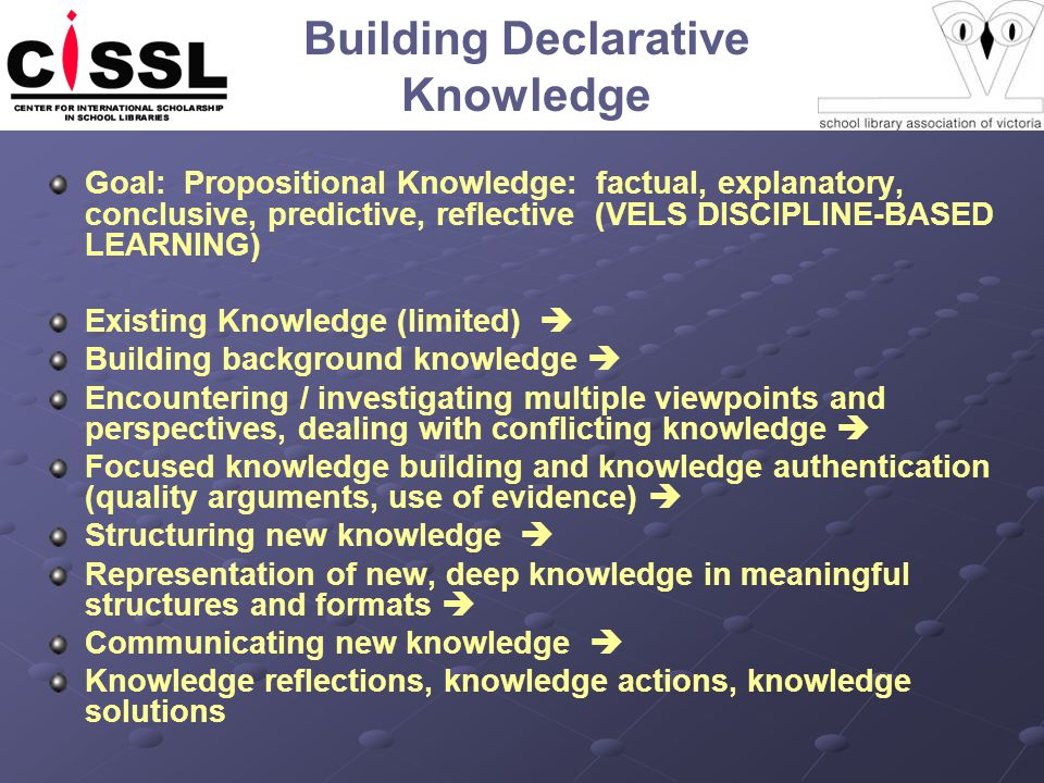 Building Declarative Knowledge Goal: Propositional Knowledge: factual, explanatory, conclusive, predictive, reflective (VELS DISCIPLINE-BASED LEARNING) Existing Knowledge (limited) Building background knowledge Encountering / investigating multiple viewpoints and perspectives, dealing with conflicting knowledge Focused knowledge building and knowledge authentication (quality arguments, use of evidence) Structuring new knowledge Representation of new, deep knowledge in meaningful structures and formats Communicating new knowledge Knowledge reflections, knowledge actions, knowledge solutions