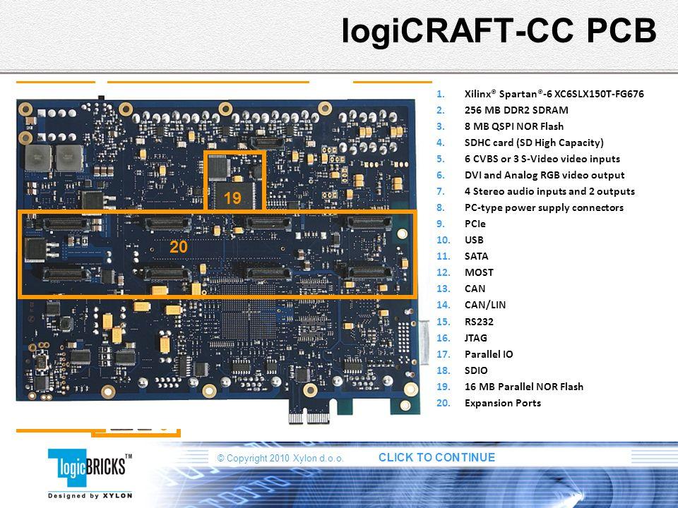 © Copyright 2010 Xylon d.o.o. CLICK TO CONTINUE logiCRAFT-CC PCB 1.Xilinx® Spartan®-6 XC6SLX150T-FG676 2.256 MB DDR2 SDRAM 3.8 MB QSPI NOR Flash 4.SDH