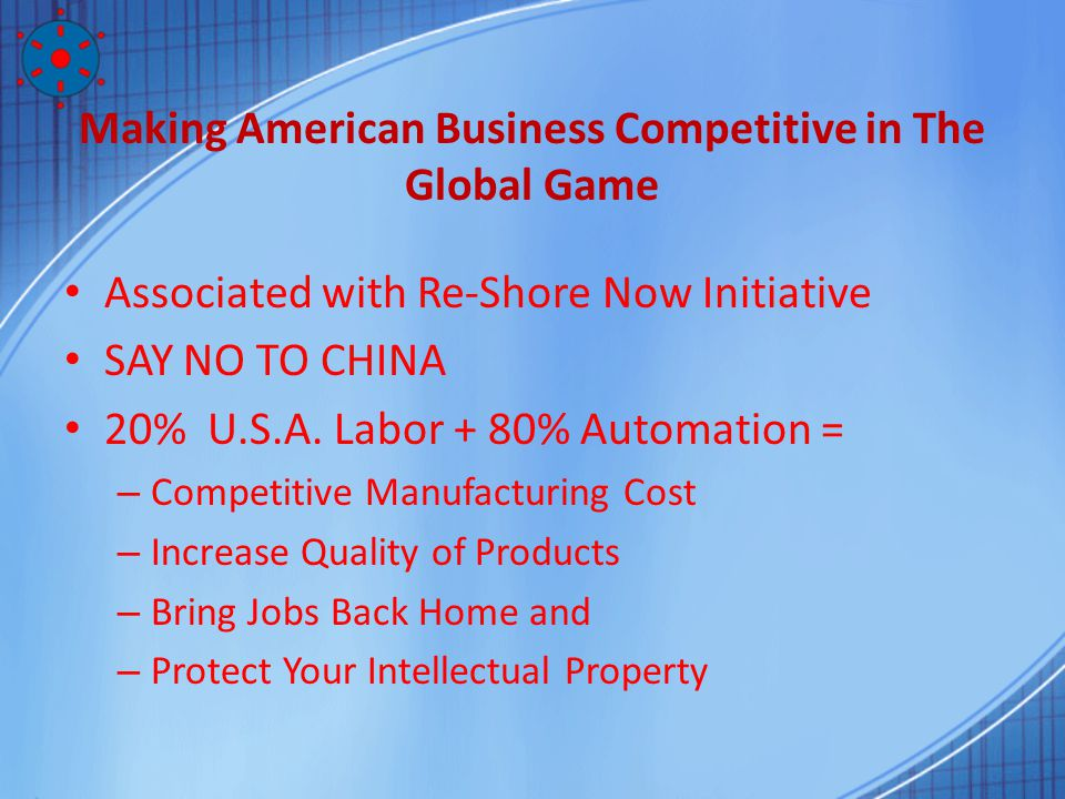 Making American Business Competitive in The Global Game Associated with Re-Shore Now Initiative SAY NO TO CHINA 20% U.S.A. Labor + 80% Automation = –