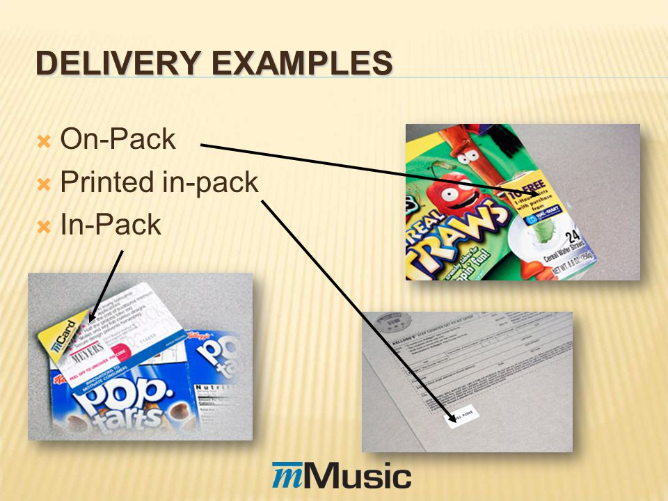 DELIVERY EXAMPLES On-Pack Printed in-pack In-Pack