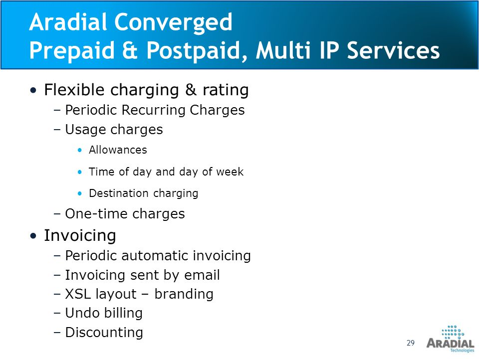 Aradial Converged Prepaid & Postpaid, Multi IP Services Web self care for users and accounts –Users and passwords management –Payments and invoices –Purchase new offers and upgrades Public portal for self registration Trouble ticketing Account and user operation –View financial transactions, sessions and calls –Payment by credit card or PayPal –Adjustments to invoices –Manual payments – cash, checks Aradial Proprietary and Confidential30