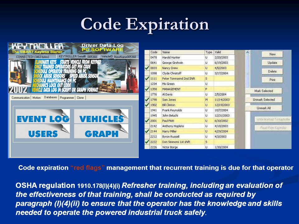 Code Expiration Code expiration red flags management that recurrent training is due for that operator OSHA regulation 1910.178(l)(4)(i) Refresher trai