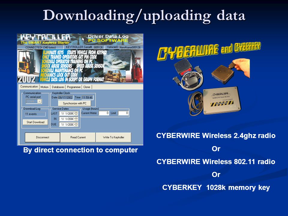 Downloading/uploading data By direct connection to computer CYBERWIRE Wireless 2.4ghz radio Or CYBERWIRE Wireless 802.11 radio Or CYBERKEY 1028k memor