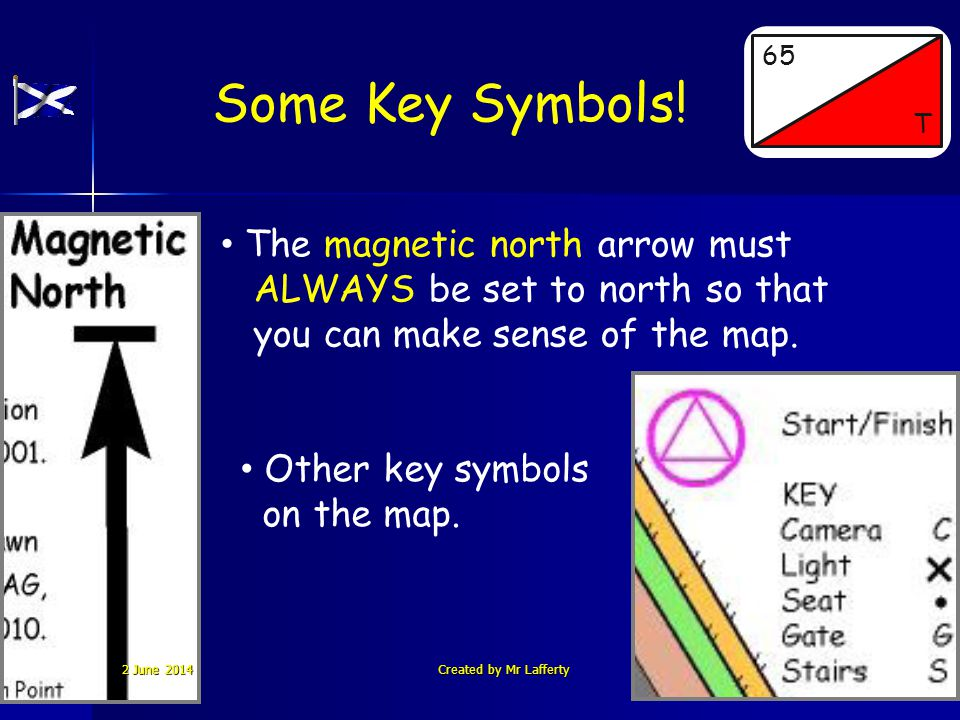 Some Key Symbols! St. Ninians High School 65 T The magnetic north arrow must ALWAYS be set to north so that you can make sense of the map. Other key s