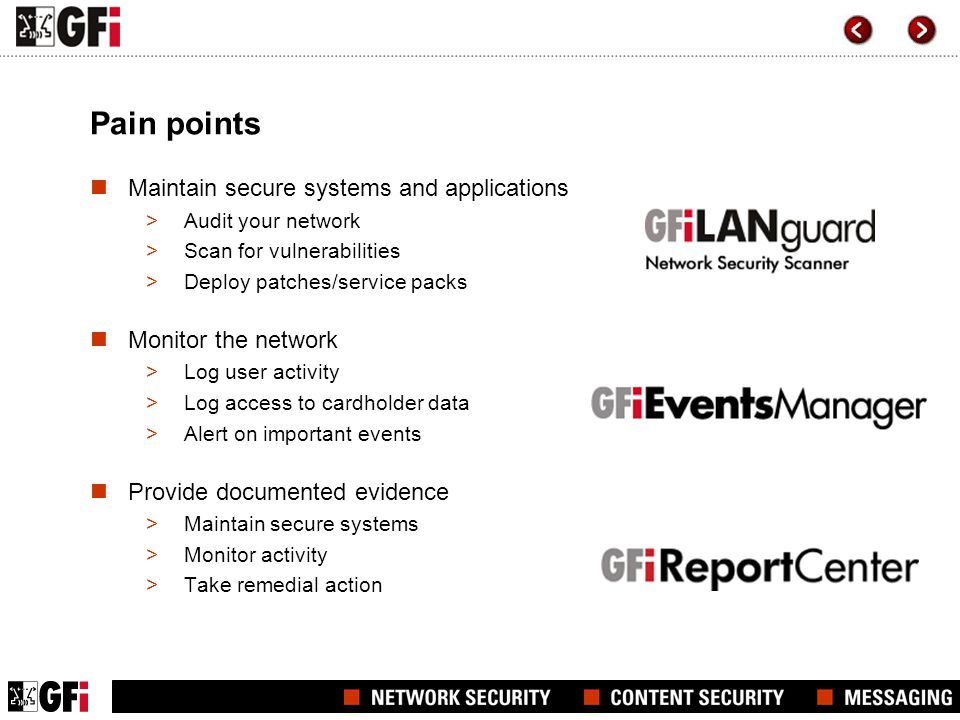 Pain points Maintain secure systems and applications >Audit your network >Scan for vulnerabilities >Deploy patches/service packs Monitor the network >