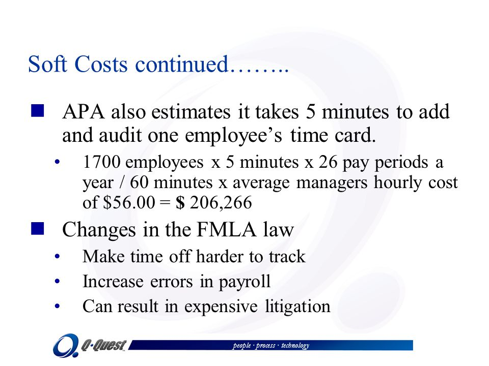 people · process · technology Soft Costs continued…….. APA also estimates it takes 5 minutes to add and audit one employees time card. 1700 employees