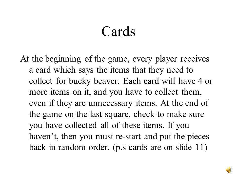 Time to play Bucky Beavers Journey ! Use this slide as the headquarters for players when they play the game. Home PageGame Directions