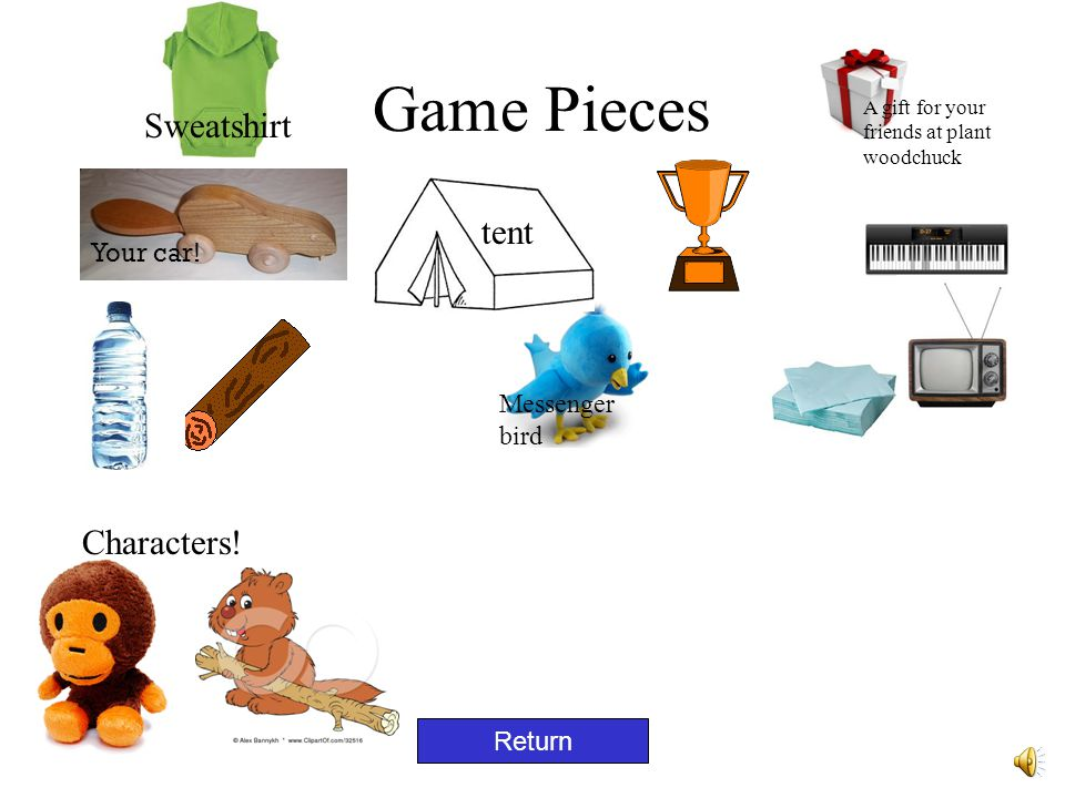 Game Preparation Gameboard: print out slide #12 Pieces: print out slide #5-cut out pieces for game Story: print out slide #2 Directions: print out slide #4 WARNINGS: print out slide #7 Home Page