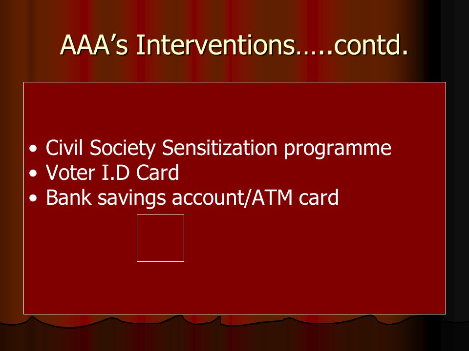 AAAs Intervention…..contd.