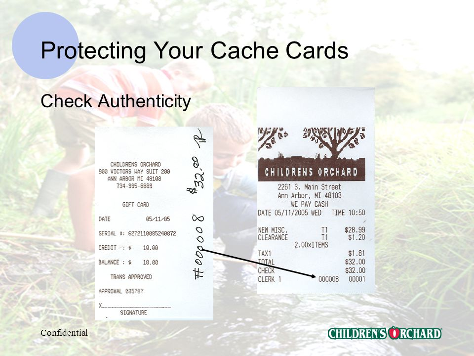Confidential Protecting Your Cache Cards Reconciling to the Batch Report From Daily Buy Register Close Sheet From $10 Promotion Cache Card Sheet From your Interactive Daily Sales Register Close Sheet