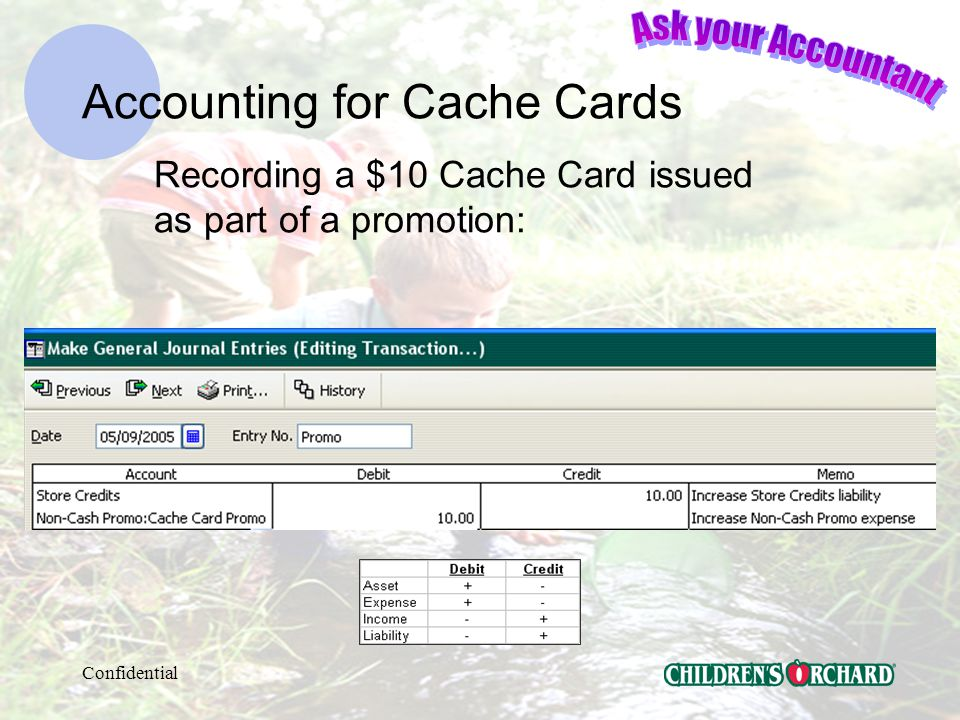 Confidential Accounting for Cache Cards AccountType Store CreditsLiability Non-Cash Promo:Expense Cache Card PromoExpense St Cr Sellers BonusExpense You must have these in your Chart of Accounts: