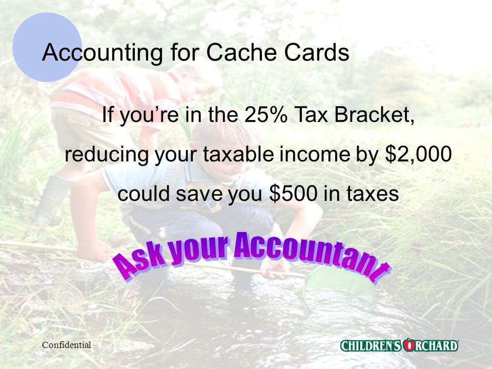 Confidential Accounting for Cache Cards Record Cache Card Promos MONTHLY.