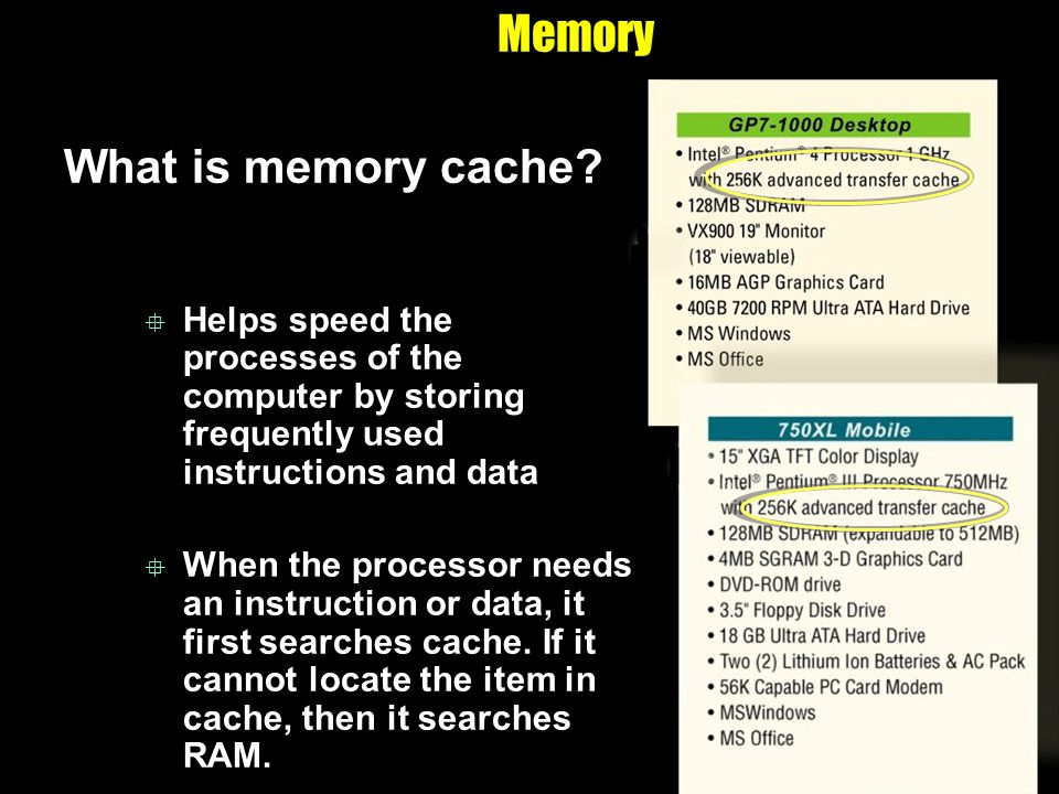 Memory What is memory cache? Helps speed the processes of the computer by storing frequently used instructions and data When the processor needs an in