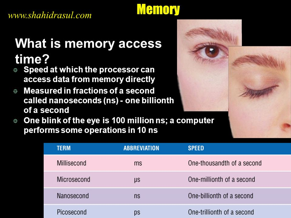 Memory What is memory access time? Speed at which the processor can access data from memory directly Measured in fractions of a second called nanoseco
