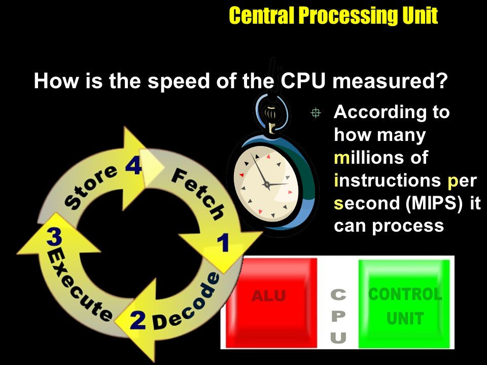 Central Processing Unit How is the speed of the CPU measured? According to how many millions of instructions per second (MIPS) it can process