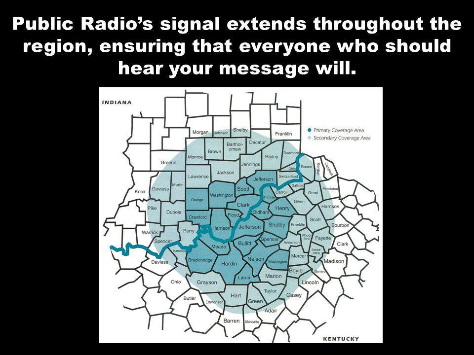 Public Radios signal extends throughout the region, ensuring that everyone who should hear your message will.