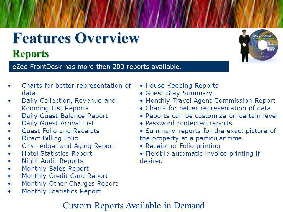 eZee FrontDesk has more then 200 reports available.