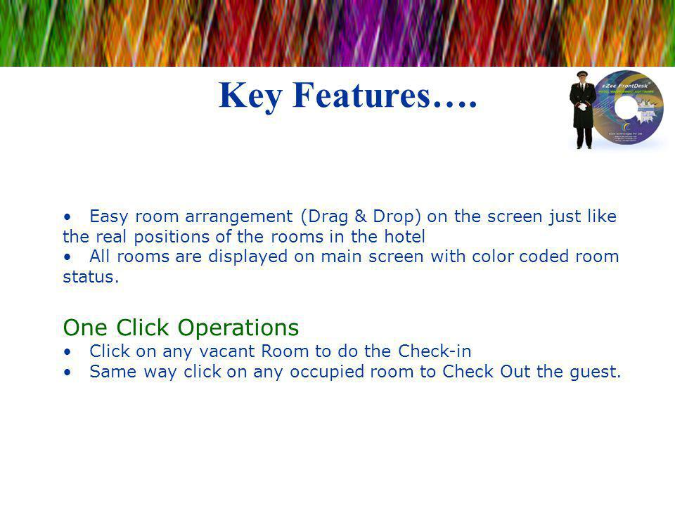 Key Features…. Easy room arrangement (Drag & Drop) on the screen just like the real positions of the rooms in the hotel All rooms are displayed on mai