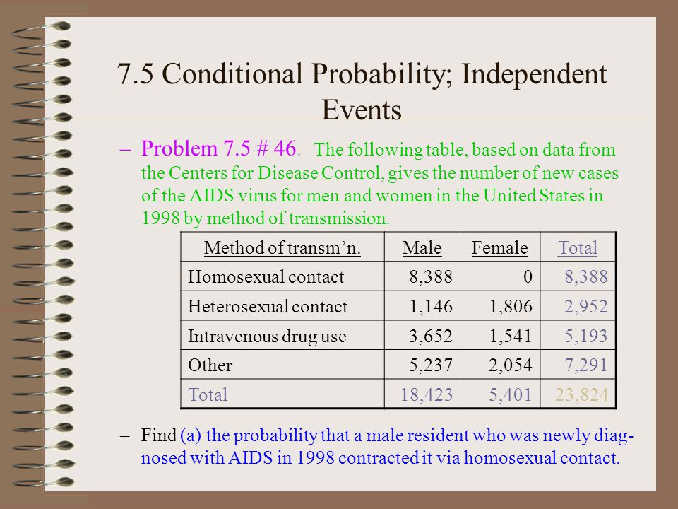 7.5 Conditional Probability; Independent Events –Problem 7.5 # 46.