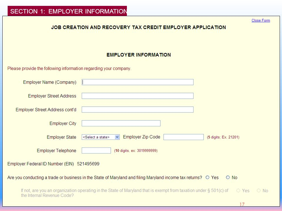 SECTION 1: EMPLOYER INFORMATION 17
