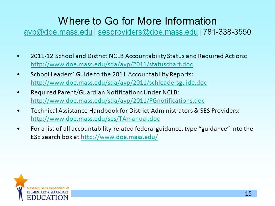 15 Where to Go for More Information | | School and District NCLB Accountability Status and Required Actions:     School Leaders Guide to the 2011 Accountability Reports:     Required Parent/Guardian Notifications Under NCLB:     Technical Assistance Handbook for District Administrators & SES Providers:     For a list of all accountability-related federal guidance, type guidance into the ESE search box at