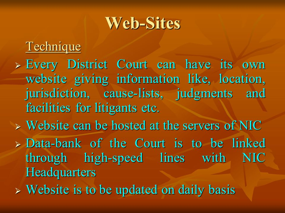 Web-Sites Technique Technique Every District Court can have its own website giving information like, location, jurisdiction, cause-lists, judgments and facilities for litigants etc.