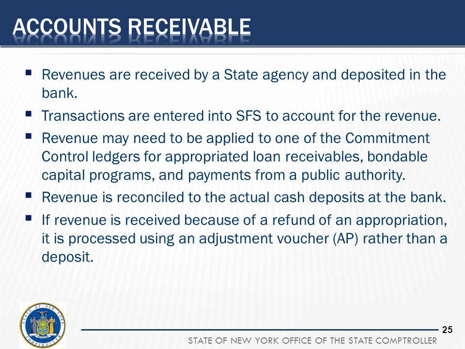 25 Revenues are received by a State agency and deposited in the bank. Transactions are entered into SFS to account for the revenue. Revenue may need t