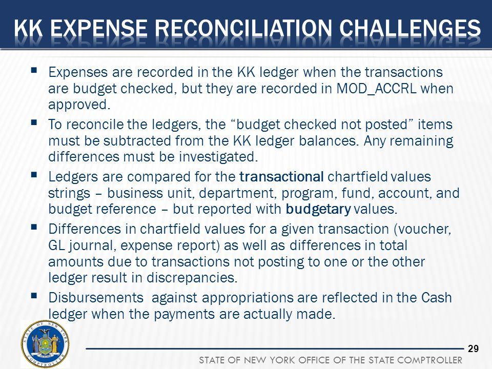 STATE OF NEW YORK OFFICE OF THE STATE COMPTROLLER 29 Expenses are recorded in the KK ledger when the transactions are budget checked, but they are rec