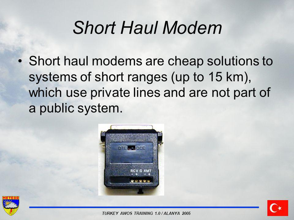TURKEY AWOS TRAINING 1.0 / ALANYA 2005 Short Haul Modem Short haul modems are cheap solutions to systems of short ranges (up to 15 km), which use priv