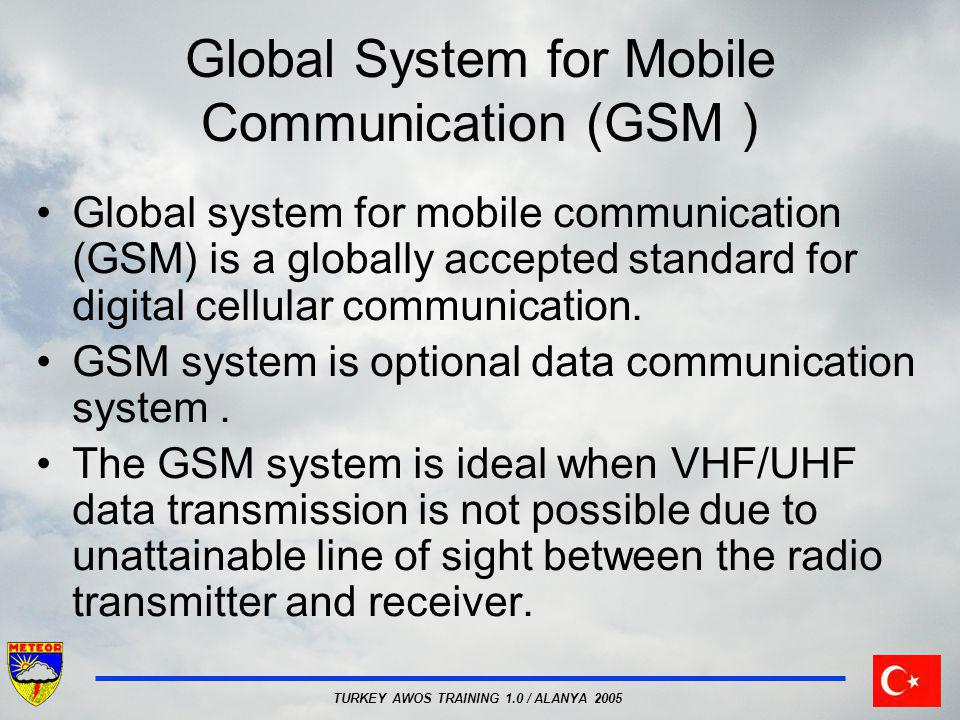TURKEY AWOS TRAINING 1.0 / ALANYA 2005 Global System for Mobile Communication (GSM ) Global system for mobile communication (GSM) is a globally accept