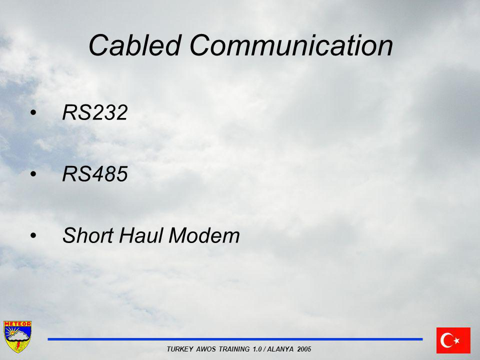 TURKEY AWOS TRAINING 1.0 / ALANYA 2005 Cabled Communication RS232 RS485 Short Haul Modem