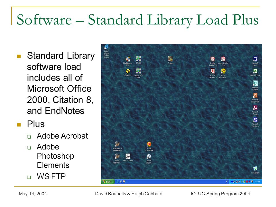May 14, 2004David Kaunelis & Ralph Gabbard IOLUG Spring Program 2004 Software – Standard Library Load Plus Standard Library software load includes all of Microsoft Office 2000, Citation 8, and EndNotes Plus Adobe Acrobat Adobe Photoshop Elements WS FTP