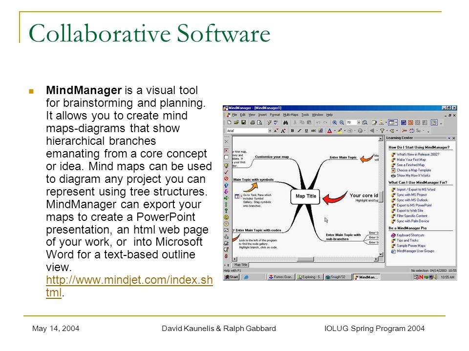 May 14, 2004David Kaunelis & Ralph Gabbard IOLUG Spring Program 2004 Collaborative Software MindManager is a visual tool for brainstorming and planning.