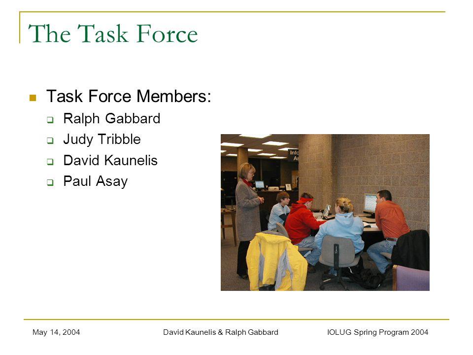 May 14, 2004David Kaunelis & Ralph Gabbard IOLUG Spring Program 2004 The Task Force Task Force Members: Ralph Gabbard Judy Tribble David Kaunelis Paul