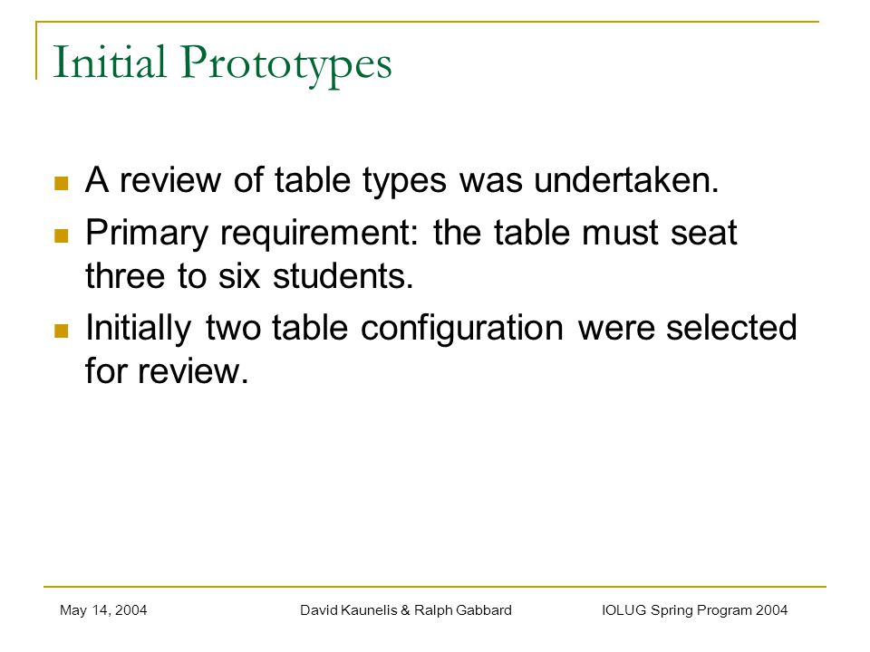 May 14, 2004David Kaunelis & Ralph Gabbard IOLUG Spring Program 2004 Initial Prototypes A review of table types was undertaken. Primary requirement: t