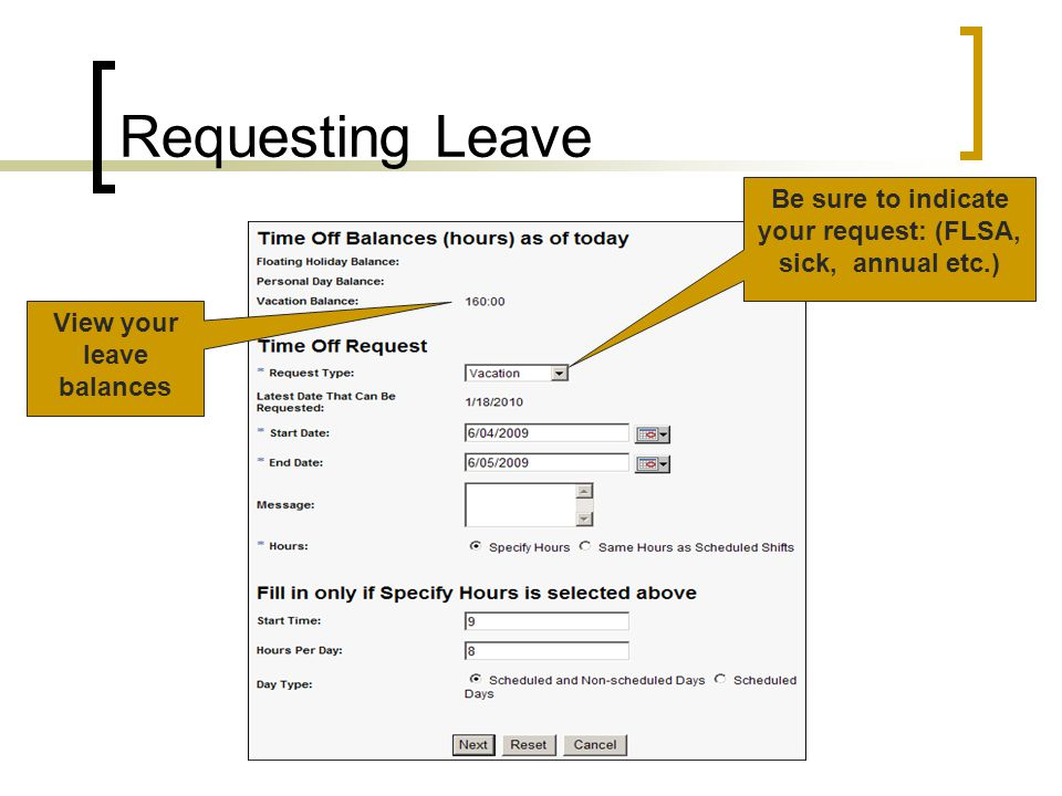 Requesting Leave View your leave balances Be sure to indicate your request: (FLSA, sick, annual etc.)