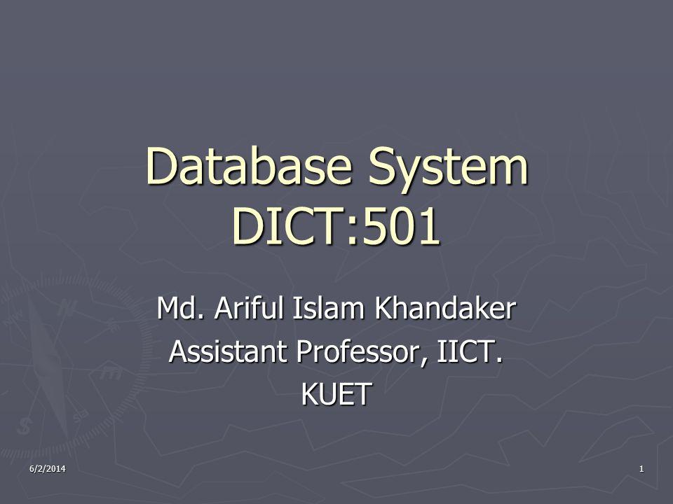 6/2/20141 Database System DICT:501 Md. Ariful Islam Khandaker Assistant Professor, IICT. KUET