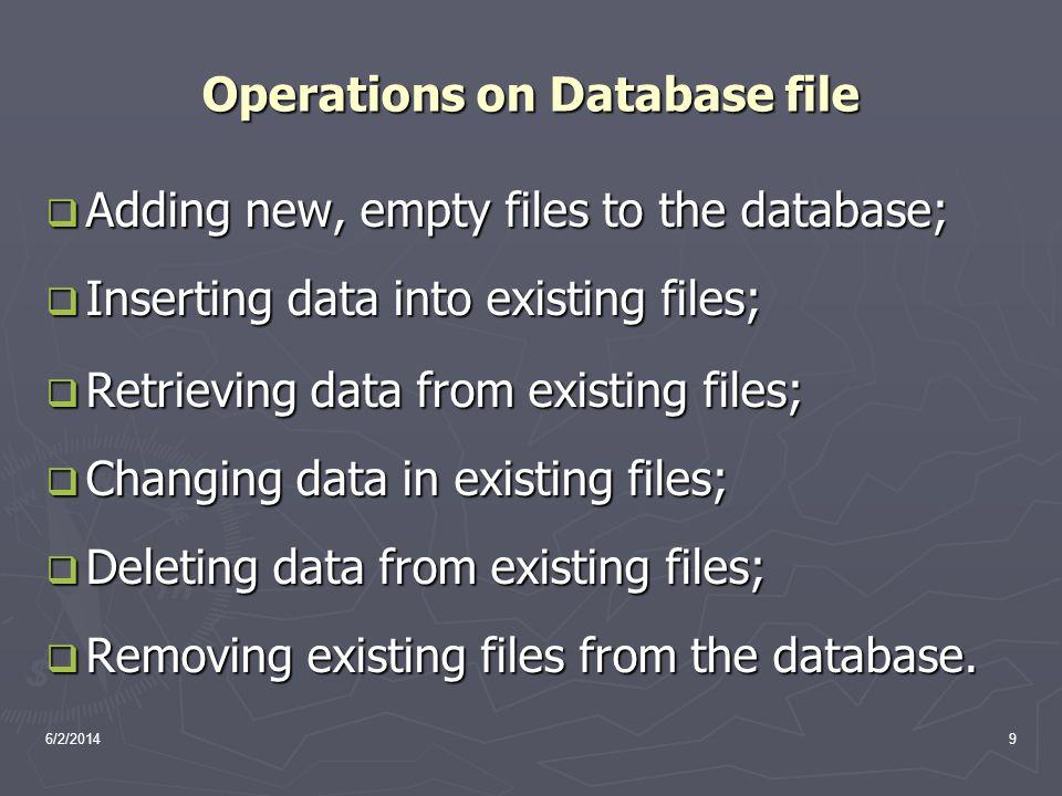 6/2/20149 Operations on Database file Adding new, empty files to the database; Adding new, empty files to the database; Inserting data into existing f
