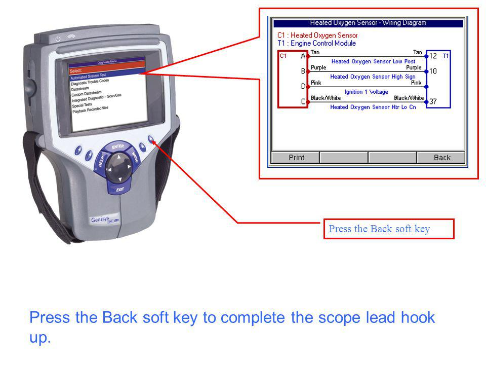 Press the Back soft key Press the Back soft key to complete the scope lead hook up.