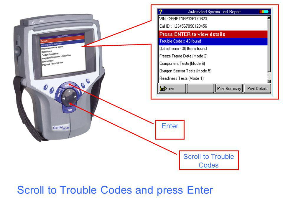Scroll to Trouble Codes and press Enter Scroll to Trouble Codes Enter