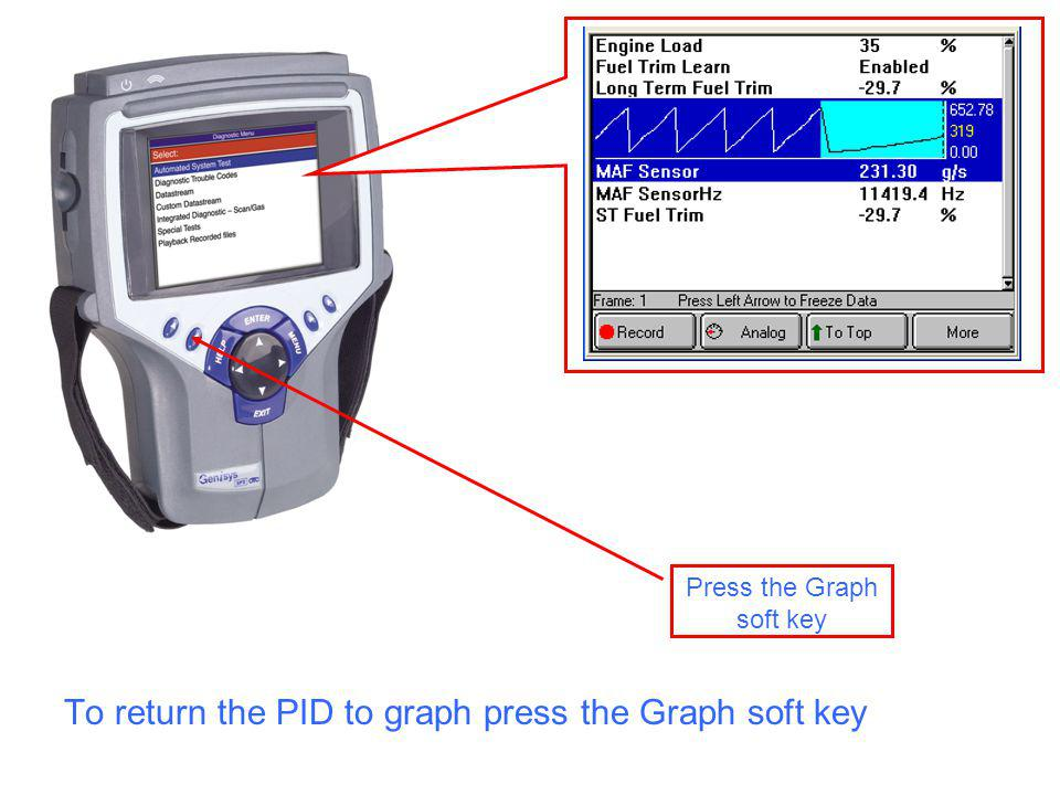 Press the Graph soft key To return the PID to graph press the Graph soft key