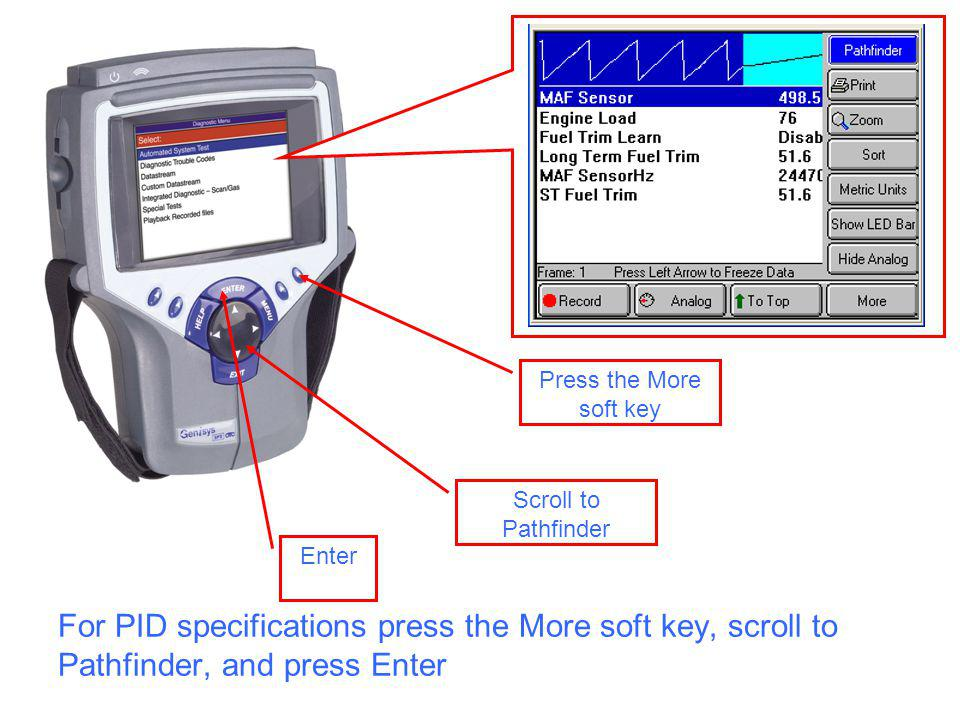 For PID specifications press the More soft key, scroll to Pathfinder, and press Enter Enter Press the More soft key Scroll to Pathfinder